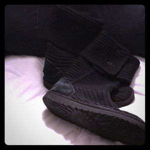 Ugg black Cardi knit button boots women's size 9
